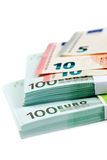 Bankbiljetten 100, 10 en 5 euro Stock Afbeelding