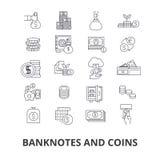 Bankbiljetten en muntstukken vector illustratie