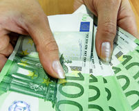 Bankbiljetten - Euro Royalty-vrije Stock Foto