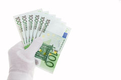 Bankbiljetten in honderd euro Stock Afbeelding