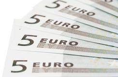 Bankbiljetten op vijf euro Stock Foto