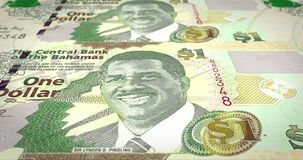 Bankbiljetten van één Bahamiaanse dollar die op het scherm, contant geldgeld, lijn rollen royalty-vrije illustratie