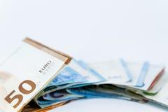 Bankbiljetten van de geld de Euro waarde met hangslot, Europese Unie betalingssysteem royalty-vrije stock afbeeldingen