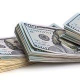 Bankbiljetten van dollars in pakken Geïsoleerde witte achtergrond royalty-vrije stock afbeelding