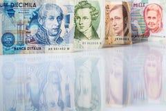 Bankbiljetten van Italië Italiaanse Lire 10000, 5000, 2000, 1000 Royalty-vrije Stock Foto's