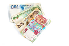 Bankbiljetten van Italië Italiaanse Lire 10000, 5000, 2000, 1000 Stock Afbeelding