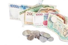 Bankbiljetten van Italië Italiaanse Lire en metaalmuntstukken Royalty-vrije Stock Fotografie