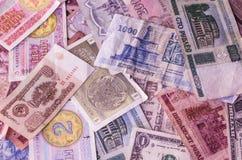 Bankbiljetten van munt de verschillende landen royalty-vrije stock foto