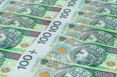Bankbiljetten van 100 PLN (zloty poetsmiddel) Stock Afbeeldingen