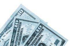 Bankbiljetten van tien Amerikaanse dollars, blauw gestemd beeld