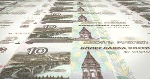 Bankbiljetten van tien roebelsrussen die op het scherm, contant geldgeld, lijn rollen stock footage
