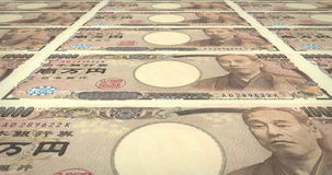 Bankbiljetten van tienduizendtalyen het Japanse rollen op het scherm, contant geldgeld, lijn stock videobeelden