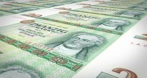 Bankbiljetten van twintig Duitse Mark van de oude Duitse Democratische Republiek, contant geldgeld royalty-vrije illustratie