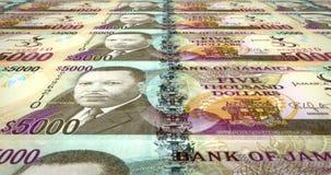 Bankbiljetten van vijf duizend Jamaicaanse dollars die van Jamaïca, contant geldgeld, lijn rollen vector illustratie