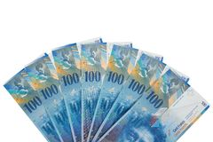Bankbiljetten van 100 Zwitserse frank Royalty-vrije Stock Afbeelding