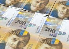 Bankbiljetten van Zwitserse franken als achtergrond Royalty-vrije Stock Foto