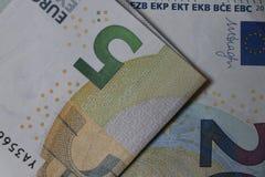 Bankbiljettenmunt van de Europese Unie royalty-vrije stock afbeeldingen