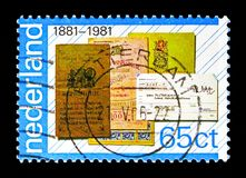 Bankbooks and giro transfer form, PTT-services serie, circa 1981. MOSCOW, RUSSIA - MAY 13, 2018: A stamp printed in Netherlands shows Bankbooks and giro transfer stock photos