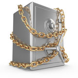 Bankbrandkast met gouden ketting en hangslot Stock Afbeelding