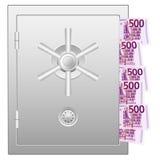 Bankbrandkast met vijf honderd euro bankbiljetten Stock Afbeelding