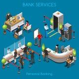 Bankbureau 02 Isometrische Mensen stock illustratie