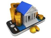Bankbyggnad på smartphonen Fotografering för Bildbyråer