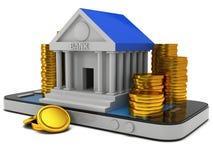 Bankbyggnad på smartphonen Arkivbilder