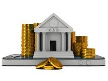 Bankbyggnad på smartphonen Royaltyfri Bild