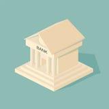 Bankbyggnad Symboler av affären och finans Arkivfoto