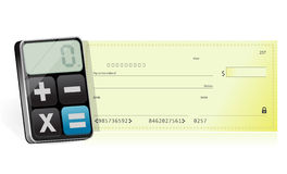 Bankcheck and modern calculator Royalty Free Stock Image