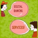 Bankdienstleistungen Handschriftstext Digital Das Konzept, das Digital-Analog-Wandlung aller altmodischen ein Bankkonto habenden  lizenzfreie abbildung