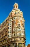 Banken av Valencia, en historisk byggnad som byggs i 1942 - Spanien Arkivfoton
