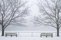 Banken in de Mist van de Winter Royalty-vrije Stock Afbeeldingen