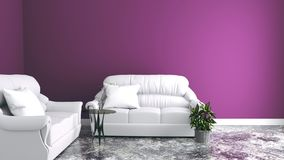 Banken in de woonkamer, roze muren het 3d teruggeven vector illustratie