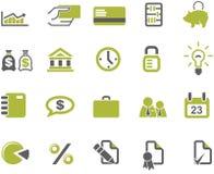 Banken en geplaatste bedrijfspictogrammen Stock Afbeeldingen