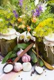 Banken met groenten in het zuur - komkommers, tomaten, courgette, a Royalty-vrije Stock Foto