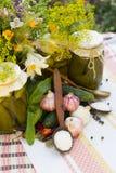Banken met groenten in het zuur - komkommers, tomaten, courgette Stock Foto