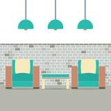Banken met Moderne Lamp op Baksteenachtergrond royalty-vrije illustratie