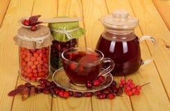 Banken mit trockenen Früchten der Eberesche und wildes stiegen, Werfer und Cup mit einem Vitamingetränk auf Holztisch Lizenzfreies Stockfoto