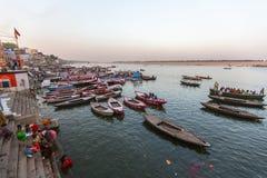Banken op de heilige rivier van Ganges Royalty-vrije Stock Foto's