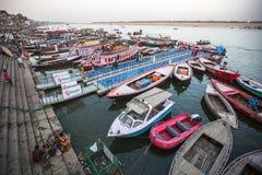 Banken op de heilige rivier van Ganges Royalty-vrije Stock Afbeeldingen