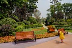 Banken op gekleurde grond alvorens tuin bij ingang van te bloeien royalty-vrije stock foto's