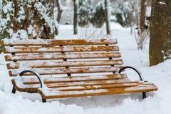 Banken in park na een sneeuwval in de winter Royalty-vrije Stock Foto