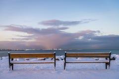 Banken in Reykjavik tijdens de winter Stock Foto's