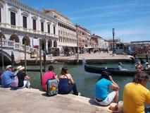 Banken van Canale Grande, Venetië, Italië Stock Foto's