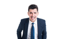 Banker boss or financial manager yelling and shouting angry Royalty Free Stock Images