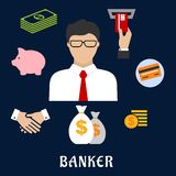 Banker and financial flat icons. Banker profession flat concept design with businessman in glasses and financial icons such as money bags, credit card, handshake Royalty Free Stock Images