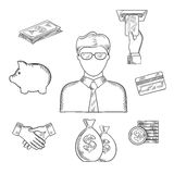 Banker and financial sketched icons. Banker profession sketch with manager or clerk in glasses and financial icons such as money bags, credit card, handshake Stock Photo