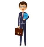 Banker mit Gläsern und Aktenkofferillustration Lizenzfreie Stockbilder