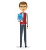 Banker mit Gläsern und flacher Karikaturillustration des Aktenkoffers Lizenzfreies Stockbild
